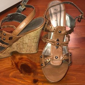 Brown corked wedge strappy shoe!